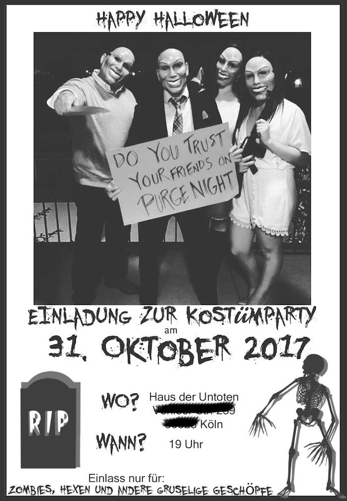 Einladung Halloween Kostümparty