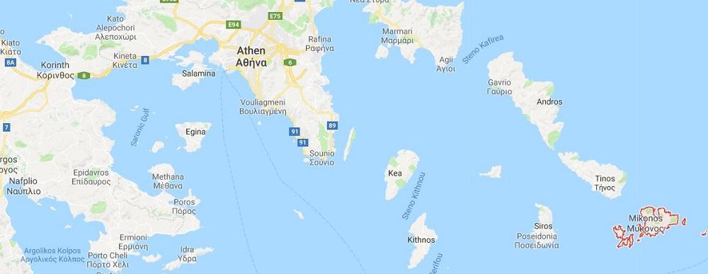Mykonos Map Griechenland