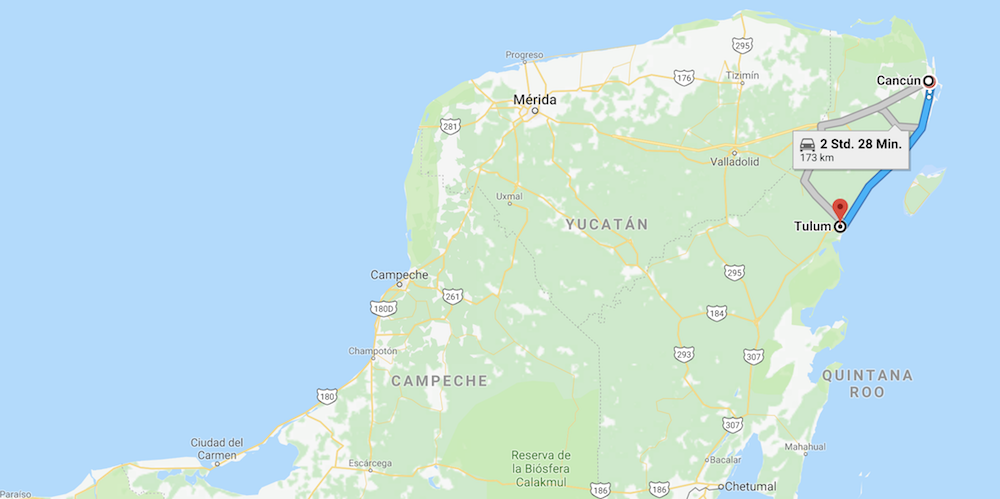 Mexiko Map, Strecke von Cancun nach Tulum
