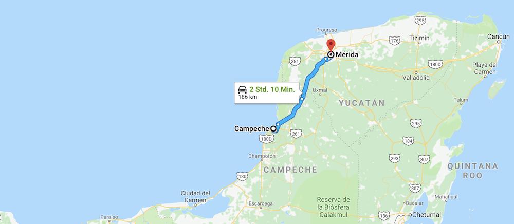 Anreise Merida Mexiko
