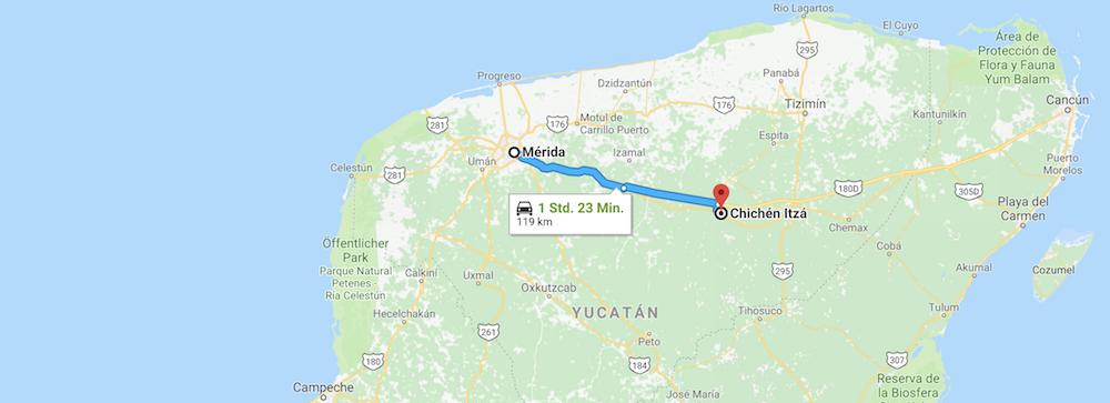 Chichen Itza Route von Merida